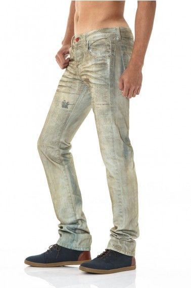 to the wire. headline jeans hand shaved wash down with news paper.