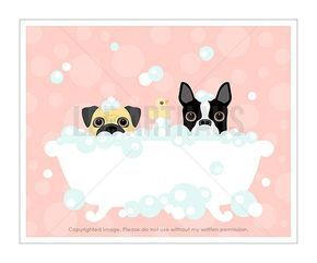 3F Dog Prints  Pug and Boston Terrier in Bathtub by leearthaus