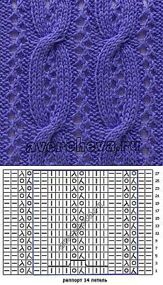 узор 491 ажурная дорожка с косами 2   каталог вязаных спицами узоров