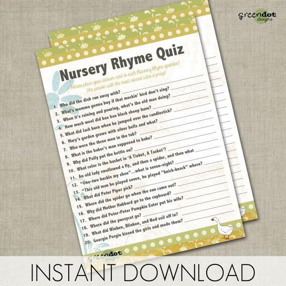 INSTANT DOWNLOAD nursery rhyme quiz, baby shower game, printable game card, green, yellow, gender neutral, mother goose