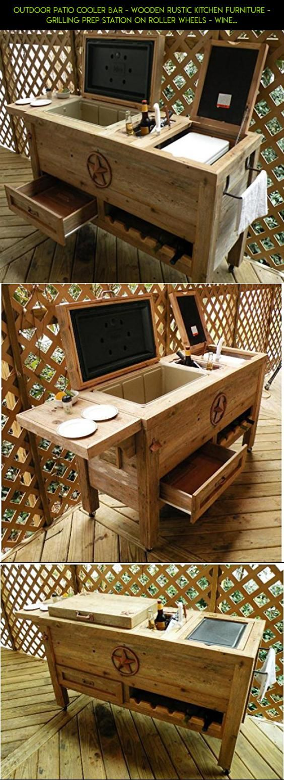Outdoor Patio Cooler Bar - Wooden Rustic Kitchen Furniture - Grilling Prep Station on Roller Wheels - Wine Storage, Beer Bottle Opener, Towel Rack, Cutting Board Accessories - Handmade Eclectic Decor #racing #gadgets #products #kit #parts #on #shopping #camera #fpv #drawers #plans #wheels #technology #storage #drone #tech