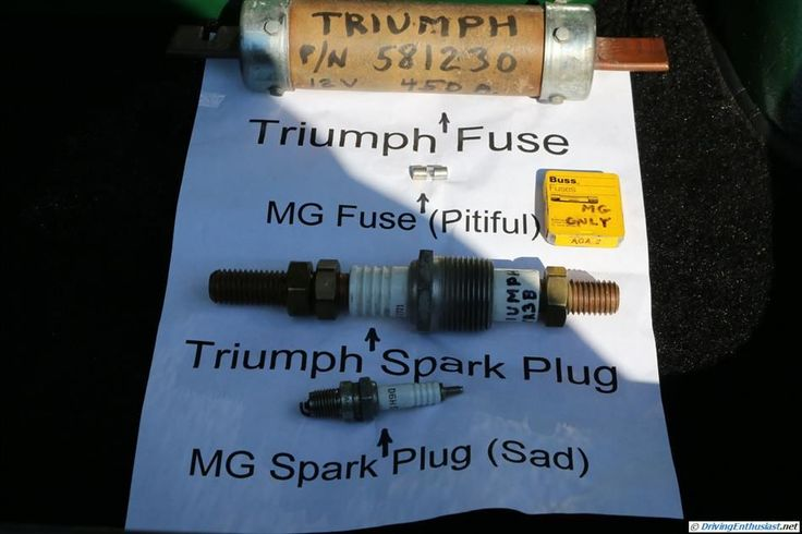 Comparison of Triumph and MG fuses. Size counts. Bigger is better.