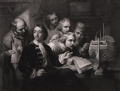 In 1697 komt Peter I de Grote, tsaar van Rusland, incognito op werkbezoek in Nederland. Hier te zien tijdens een werkbezoek aan een scheepswerf van de VOC.