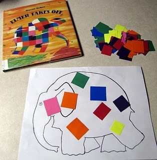 Elmer the Elephant craft and Book! Letter Ee week!