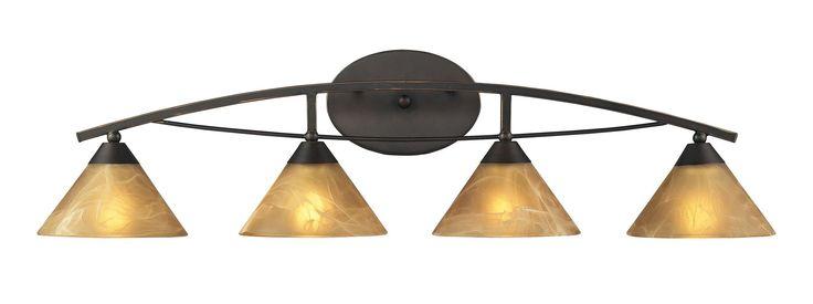 """Elk Lighting 17029/4 Elysburg 4 Light 36"""" Vanity Fixture with Frosted Glass Shad Oiled Bronze Indoor Lighting Bathroom Fixtures Vanity Light"""