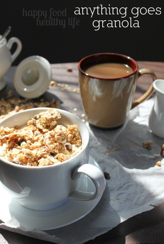 Anything Goes Granola. You really can't go wrong with this granola. You choose what mix-ins you like, bake it, and you have a nutritious breakfast or healthy snack. www.happyfoodhealthylife.com