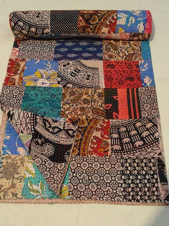 Patchwork Kantha quilted blanket Gudri Vintage Handmade Kantha Indian Throw Bedcover Bedspread Printed Kantha Quilts kantha bohemian bedding Set