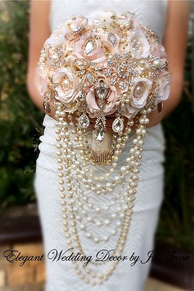 brooch wedding bouquets with pearls and cristals
