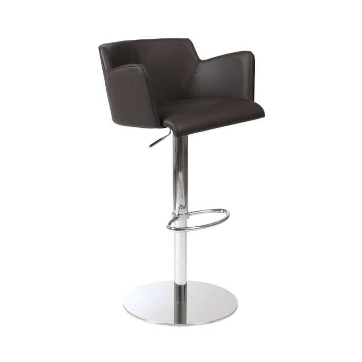 Euro Style Sunny Bar/Counter Chair in Brown Leatherette/Chrome