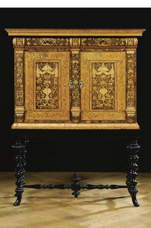 A fine Anglo-Dutch walnut, olive, birch, satinwood and fruitwood marquetry cabinet on stand William and Mary, circa 1700 Quantity: 2: 167 x 132 x 50cm. SOLD. 15,000 EUR