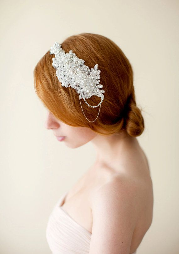 Wedding Headpiece, Bridal Headpiece, Floral, Lace headpiece, Swarovski Pearls and Rhinestones - Style 230
