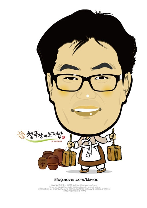 건강하게 오래 살고 싶다면 청국장과 보리밥이죠    꽉샘의 캐리커쳐 인물열전(020) 청국장과 보리밥 오기성 대표 Mr. Oh Gi Sung