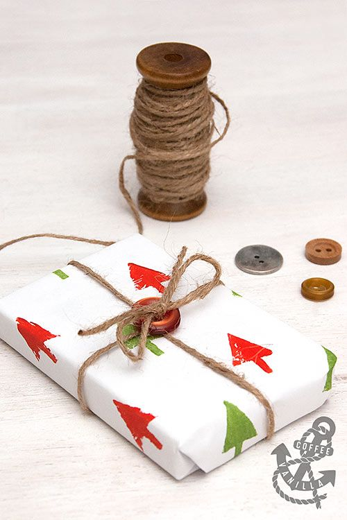 Potato Stamped Gift Wrapping Paper