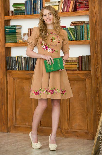 """Платья ручной работы. Ярмарка Мастеров - ручная работа. Купить Платье """"flora dance"""". Handmade. Бежевый, платье, платье с вышивкой"""