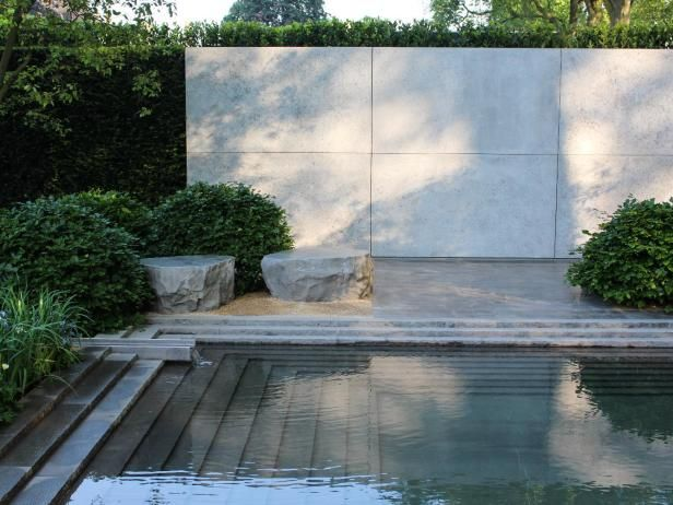 The Laurent-Perrier Garden at the annual Chelsea Flower Show is known for its elegance, as befits the luxury champagne brand. The 2014 garden was created by designer Luciano Giubbilei. Walls of concrete and metal give the space definition.