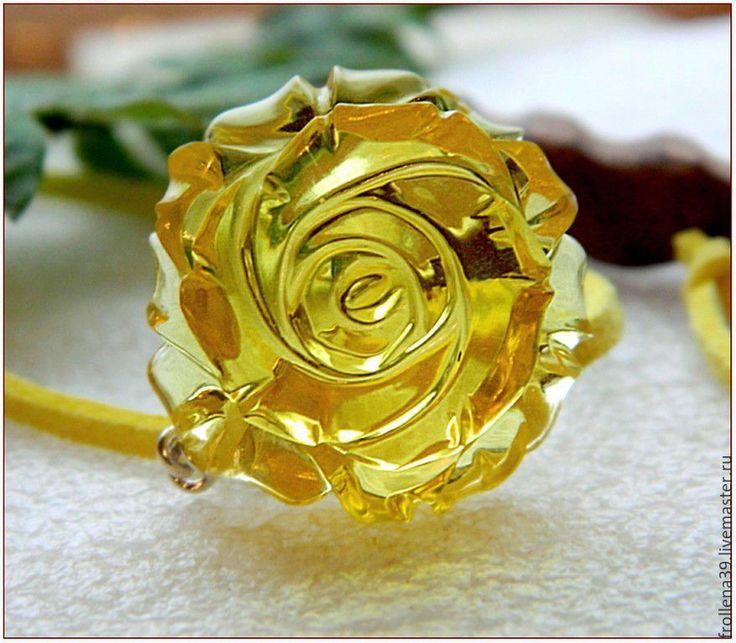 """Купить Янтарь. Кулон """"Неоновая роза-2"""" янтарь серебро - янтарь, янтарь натуральный"""