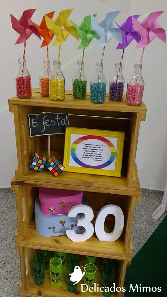 Aniversário 30 anos - Anos 80 e 90 cores do Arco Íris