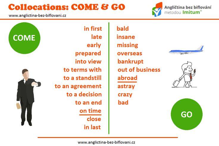 """Naučte se užitečná slovní spojení se slovy """"COME"""" and """"GO"""". Have you ever gone overseas? ✈ #collocations #come #go"""