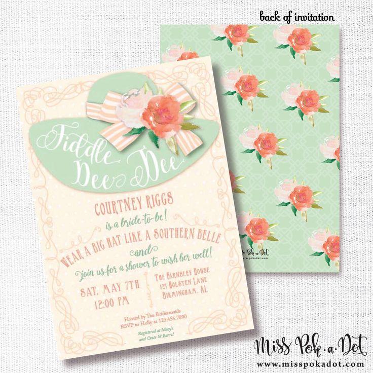 FIDDLE DEE DEE big hat bridal shower invitation southern belle brunch wedding shower luncheon southern charm floral bachelorette tea party by misspokadot on Etsy