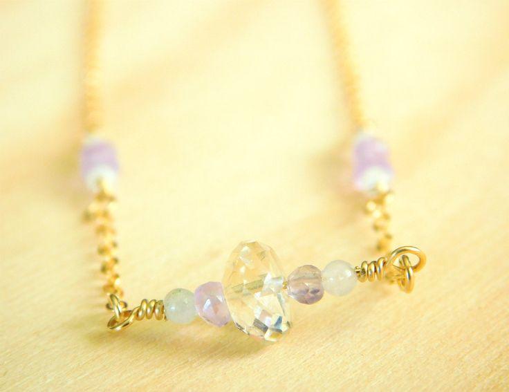 Gemstone Necklace, Citrine, Amethyst, Aquamarine Gemstone Necklace, Dainty, Delicate Necklace by jljewellerydesign on Etsy