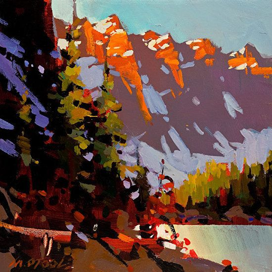 """MORAINE LAKE , TOUCH OF GOLD by Michael O'Toole Acrylic ~ 10"""" x 10"""""""