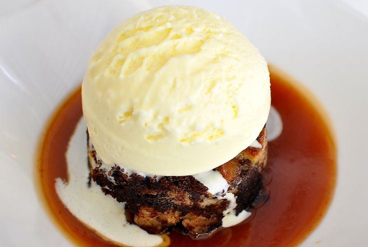 Pretzel and bread pudding -- served over a pool of salted caramel sauce, topped with a giant scoop of house-made mascarpone ice cream.