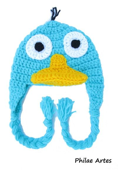 Perry, the platypus, Phineas and Ferb, Disney channel, beanie, crochet, hat - Perry, o ornitorrinco, touca, chapéu, gorro - by Philae Artes
