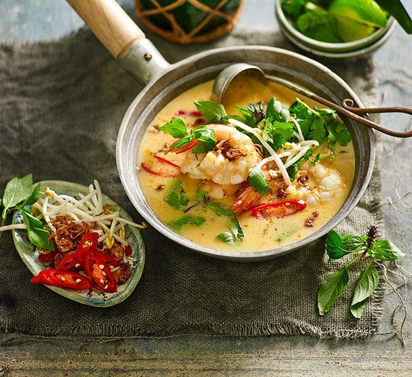 Thai-style pumpkin and prawn soup