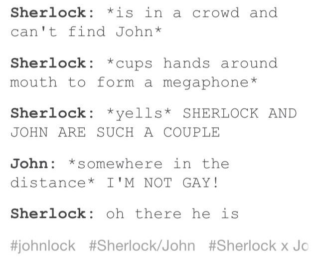 Locating John in a crowd>>>I don't ship them romantically, but this is hilarious. I love their epic friendship