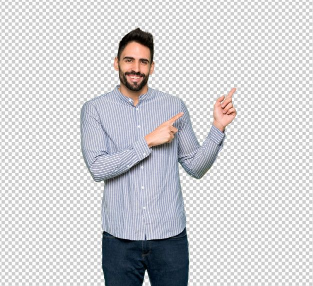 Elegant Man With Shirt Pointing Finger To The Side In Lateral Position In 2021 Elegant Man Shirts Smiling Man