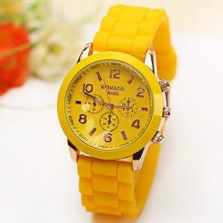 WoMaGe Quartz Watch 6 Numbers and Rectangles Indicate Rubber Watch Band for Women - Yellow
