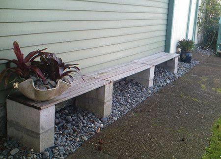 banco bloques de cemento y madera