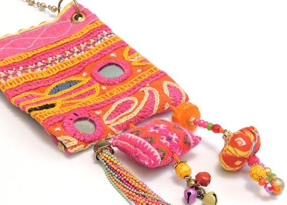 Upcycled jewelry, Boho chic style,Fabric jewelry,ooak