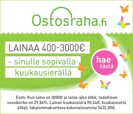 Ostosraha, lainaa 400 - 3000 euroa