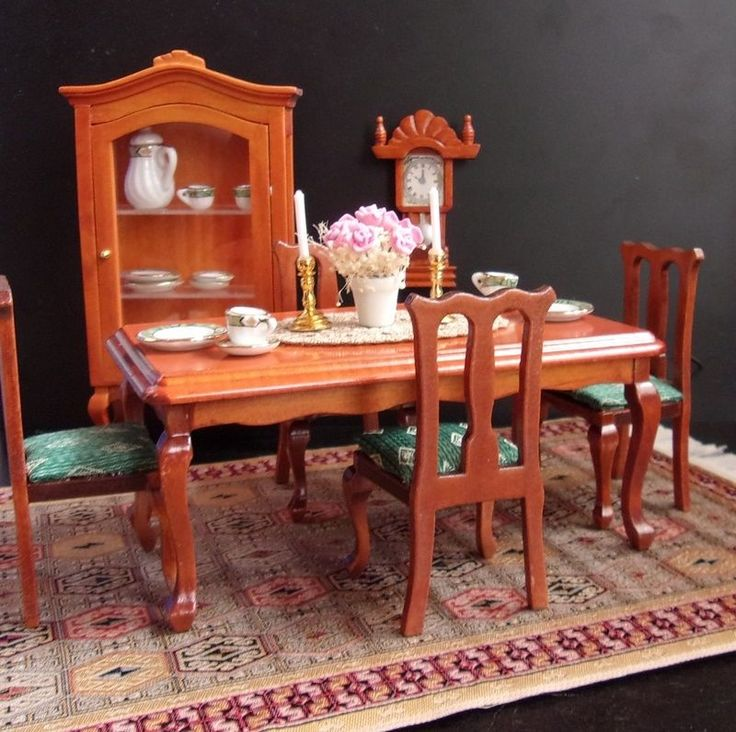 Esszimmer Komplett Mit Möbel Teppich Porzellan Deko Puppenhaus Puppenstube
