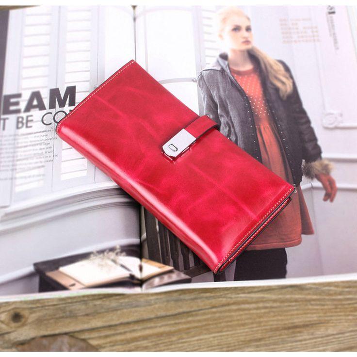 Venta larga cartera de cuero para niñas billeteras de moda con hebilla mujer [LH63028] - €25.52, Bzbolsos.com