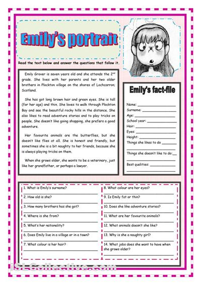 Emily's portrait worksheet. iSLCollective.com - Free ESL worksheets