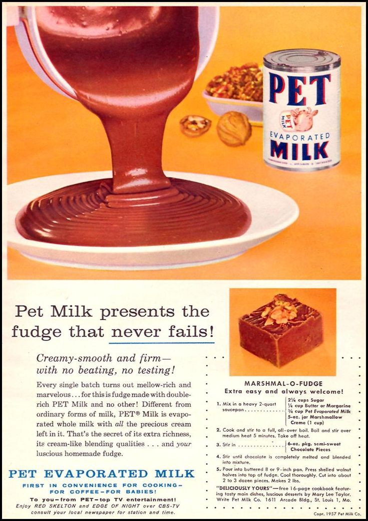 PET EVAPORATED MILK - Marshmallow fudge recipe... it is simple to make and is fantastic to eat! ~ FAMILY CIRCLE 11/01/1957 p. 15