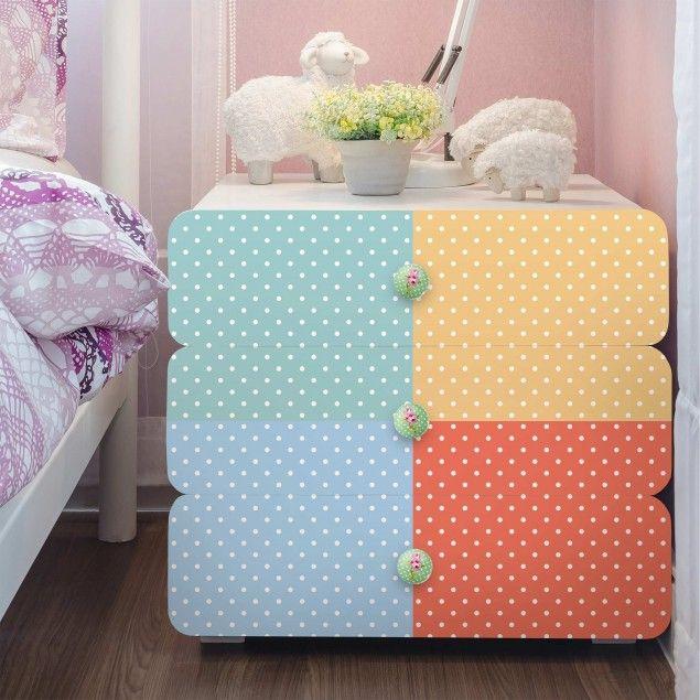 #Möbelfolie #Set - 4 #Pastell-#Farben mit weißen #Punkten - #Türkis #Blau #Gelb #Rot #Klebefolien #Möbelfolien #Folie #selbstklebend #DIY #Kinderzimmer