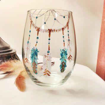 Customized wine glass, boho, dreamcatcher, gypsy style, southwestern