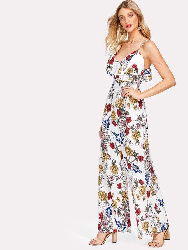 d029056414ea6 Asymmetrical Ruffle Shoulder Floral Jumpsuit -SheIn(Sheinside ...