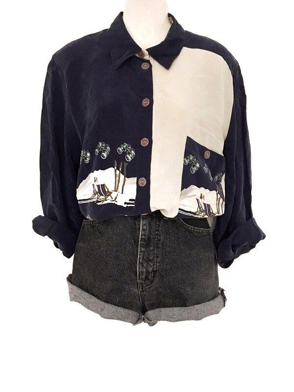 Mein True Vintage 100% Seide Silk Bluse Hemd XXL Oversize Ski Winter Motiv Print…