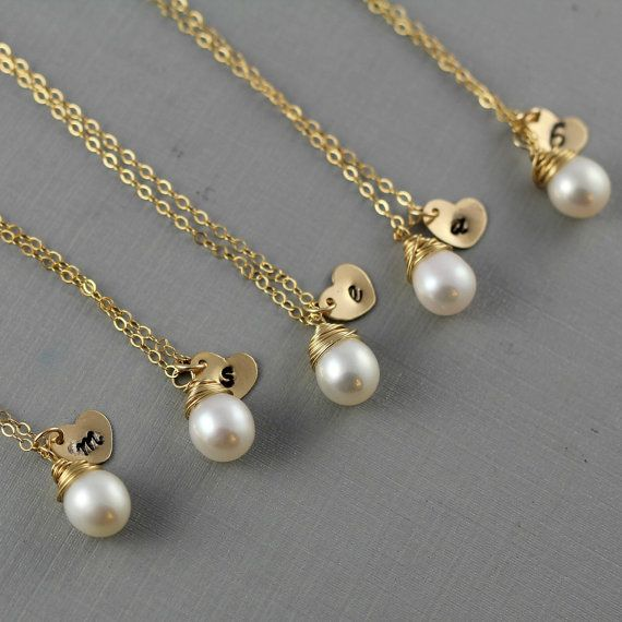 Perfect bridesmaids' gifts!  Personalized initial heart charms with freshwater pearls on gold chains