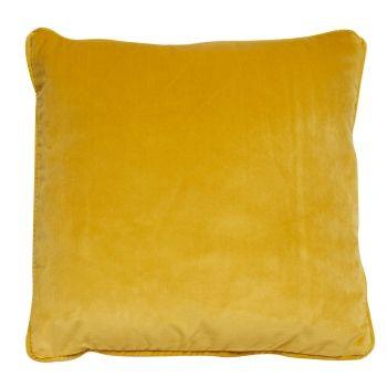 Yellow velvet cushion