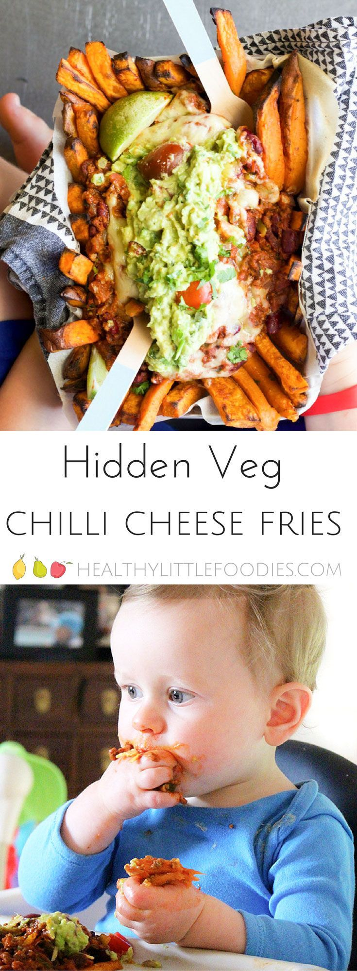 These healthy chilli cheese fries are packed with 7 different veggies. Great for fussy eaters #hiddenveg #kidsfood #blw #babyledweaning #fries via @hlittlefoodies