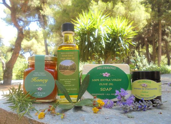 Gift Set Extra Virgin Olive OilRaw HoneyLavender by MelirrousBees