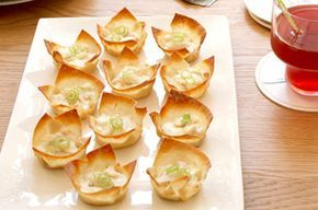 Baked Crab Rangoon 1 can white crabmeat or fresh 4 oz cream cheese 2 gr onions 1/4 C lt mayo 12 wonton wrappers oven @ 350* Put 1 wrapper in muffin cups sprayed with PAM fill with crab mixture Bake 18-20 min crisper rangoon bake wrapper alone 5-7 min then fill with mixture and bake 6-8 min