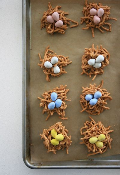 just add Cadbury mini eggs to haystacks and you have mini bird nests! can use for a baby shower, spring, easter, etc...