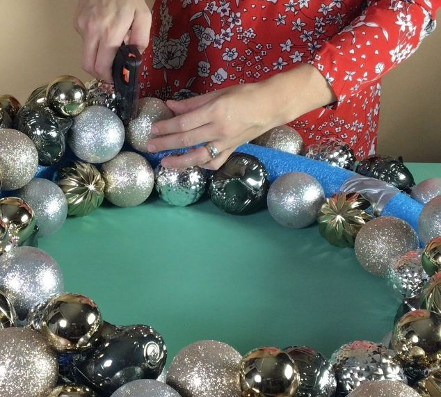 ornament wreath, christmas decorations, crafts, home decor, lighting, seasonal holiday decor, wreaths