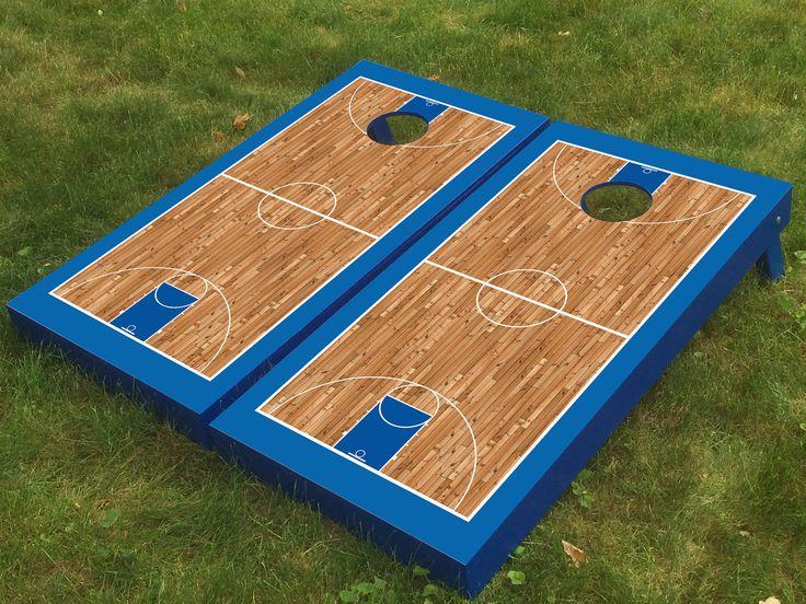 Basketball Court Blue Cornhole Boards Cornhole Boards